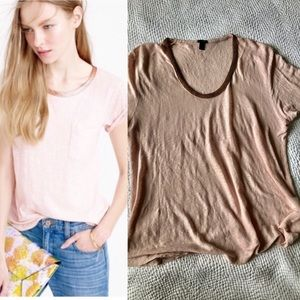 JCrew Blush Short Sleeve Top with Copper Beading